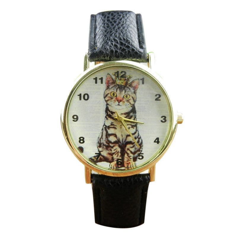 Neutral Diamond Lovely Cats Face Faux Leather Quartz Watches