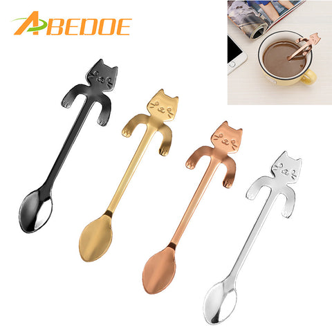 ABEDOE 1 pcs Stainless Steel Cat Coffee Spoon Dessertspoon Food Grade ice cream candy teaspoon Kitchen Supplies tableware