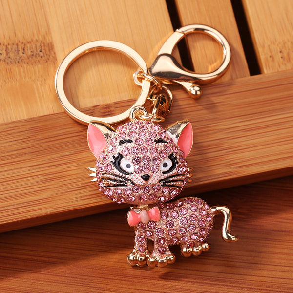 Rhinestone Cat Sparkling Charm Keychain Bag Handbag Key Ring Car Key Pendant