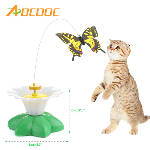 ABEDOE Cat Toys Electric Rotating Colorful Butterfly Funny Pet Seat ScratchToy For Cats Kitten dropshipping 8*8*6cm