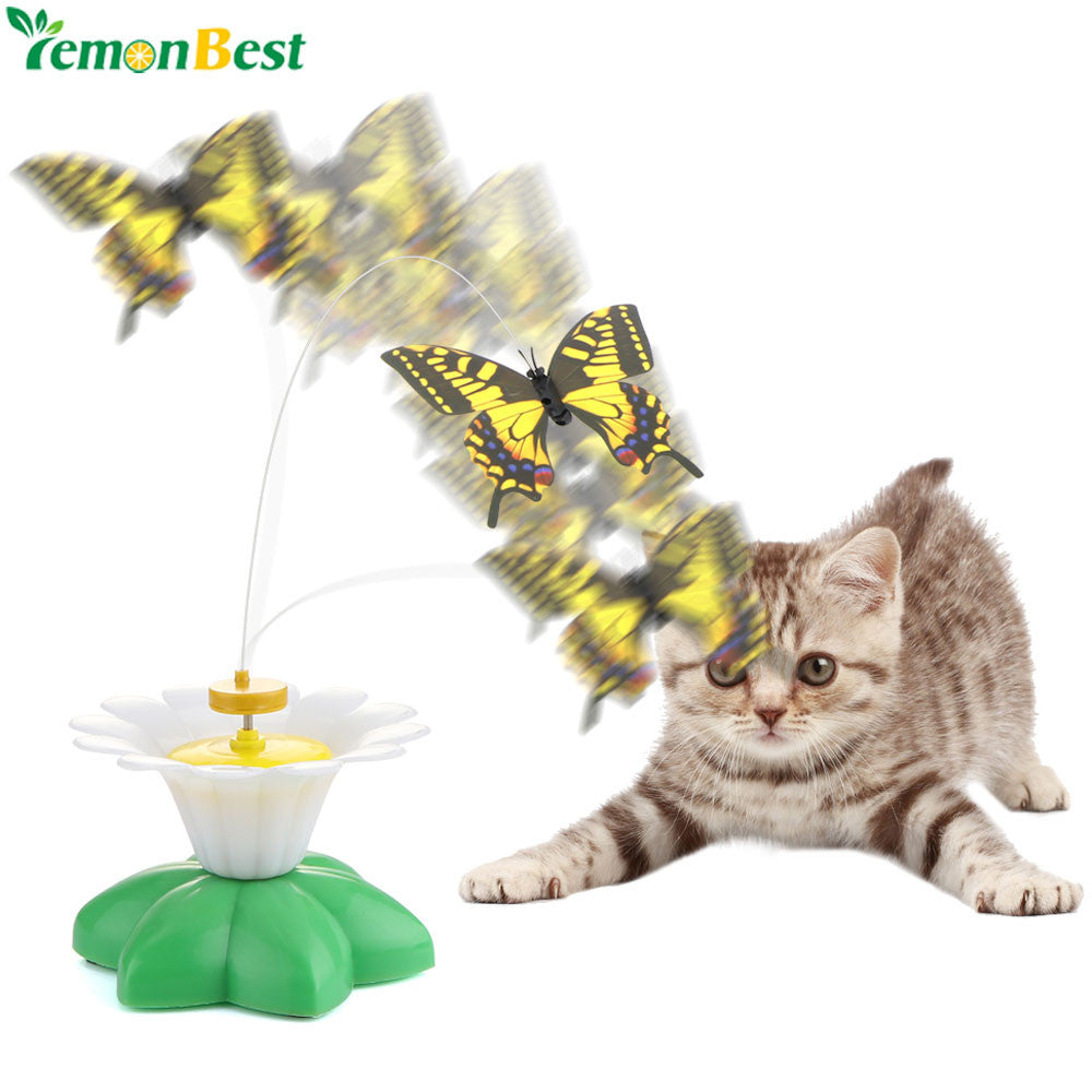 Cute Pet Cat Electric Interactive Toys Electric Rotating Colorful Butterfly Funny Pet Seat Scratch Toy For Cats Dogs Kitten Play