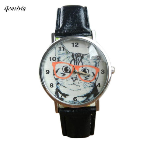 GENVIVIA Cute Cat Pattern Watch Women Girl Leather Band Analog Quartz WristWatch Vogue relogio feminino