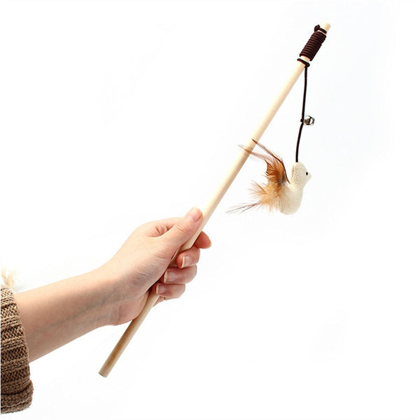 Cat Teaser Interactive Toy Wand with Bell and Feather