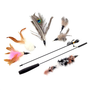 Cat Teaser Wand Stick with Handle Cats Catcher Interactive Toy  with 5pcs Feather Replacement