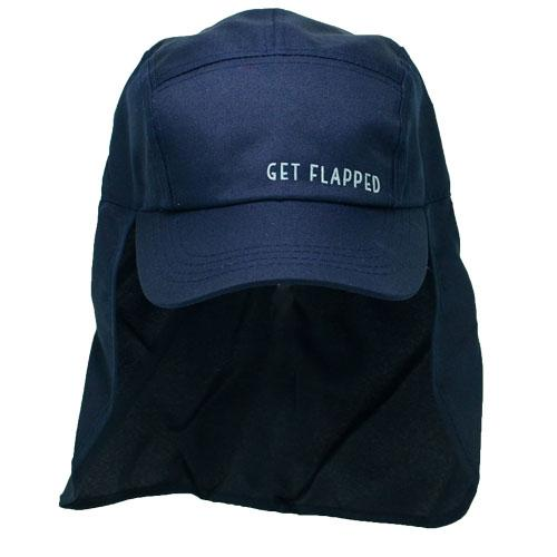 Blue Steel-navy coloured childrens legionnaires hat UPF50+ get flapped-front