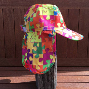 Puzzled-puzzle pieces patterned childrens legionnaires hat UPF50+ get flapped-side