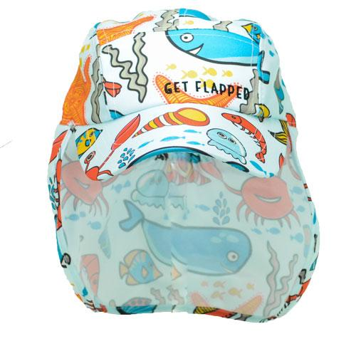 Seaside-ocean themed childrens legionnaires hat UPF50+ get flapped-front
