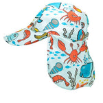 Seaside-ocean themed childrens legionnaires hat UPF50+ get flapped-side