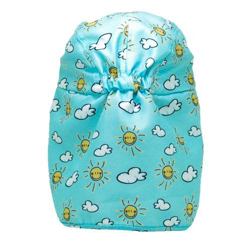 Sunshine-sun and cloud patterned baby legionnaires hat UPF50+ get flapped-back