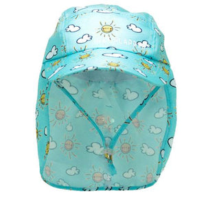 Sunshine-sun and cloud patterned baby legionnaires hat UPF50+ get flapped-front