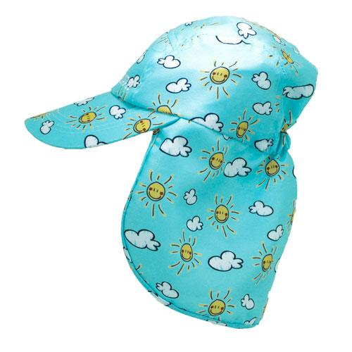 Sunshine-sun and cloud patterned baby legionnaires hat UPF50+ get flapped-side