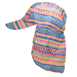 Tribal-tribal patterned childrens legionnaires hat UPF50+ get flapped-side