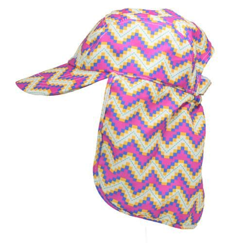 Ziggy-zigzag aztec patterned childrens legionnaires hat UPF50+ get flapped-side