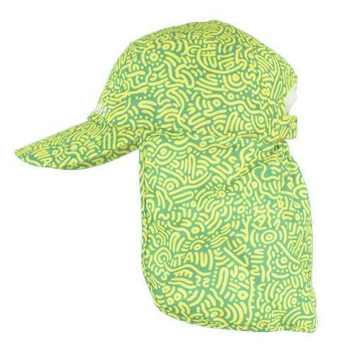 Ozzie-green and gold indigenous print adult legionnaires hat UPF50+ get flapped-side