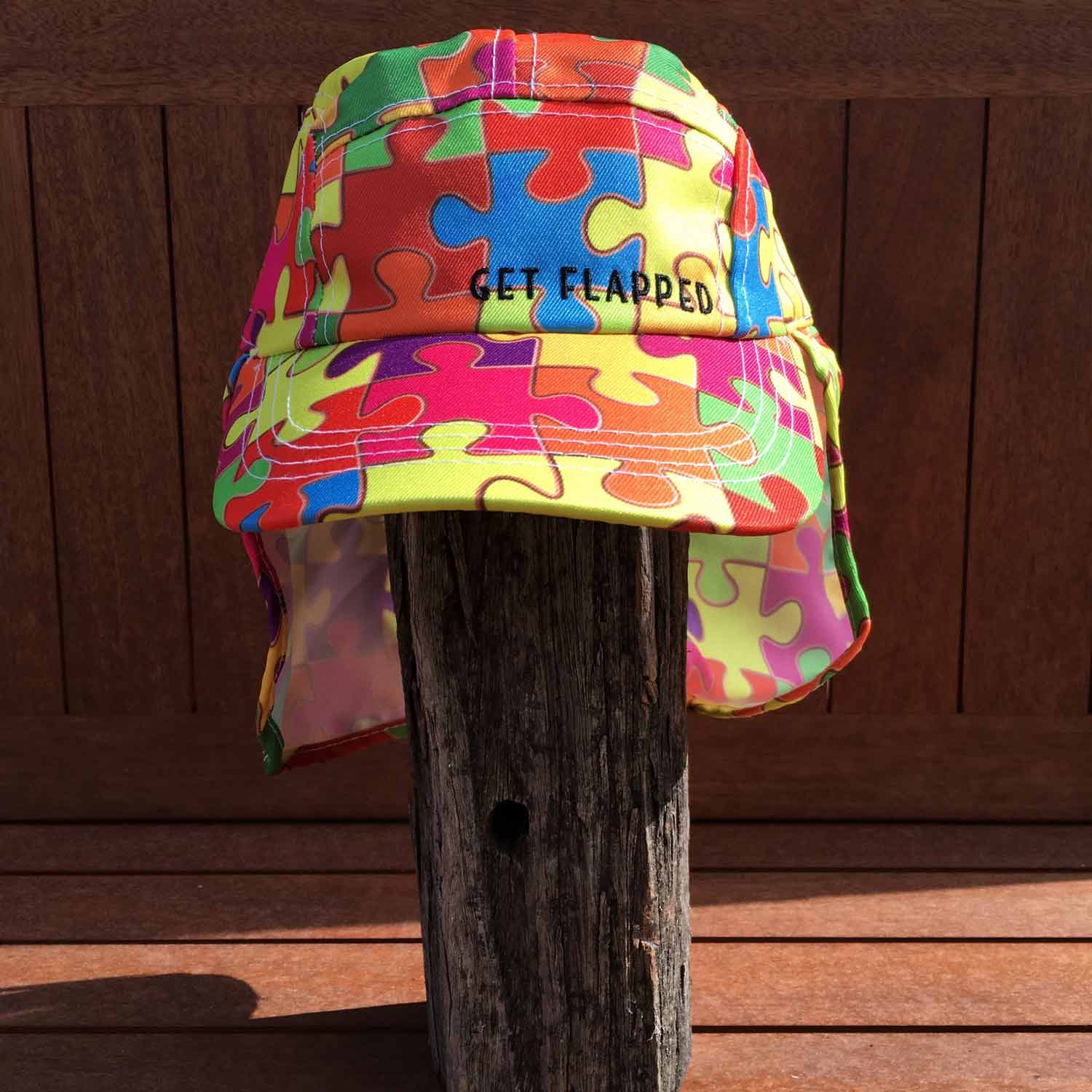 Puzzled-puzzle pieces patterned childrens legionnaires hat UPF50+ get flapped-front