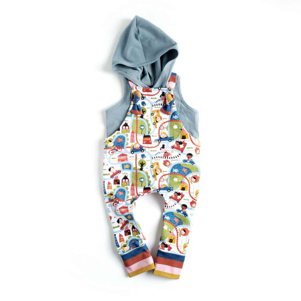Overalls & Hooded Tank Set - Size 3-6 Months