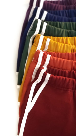 Track Shorts in red, orange, yellow, green, blue and purple