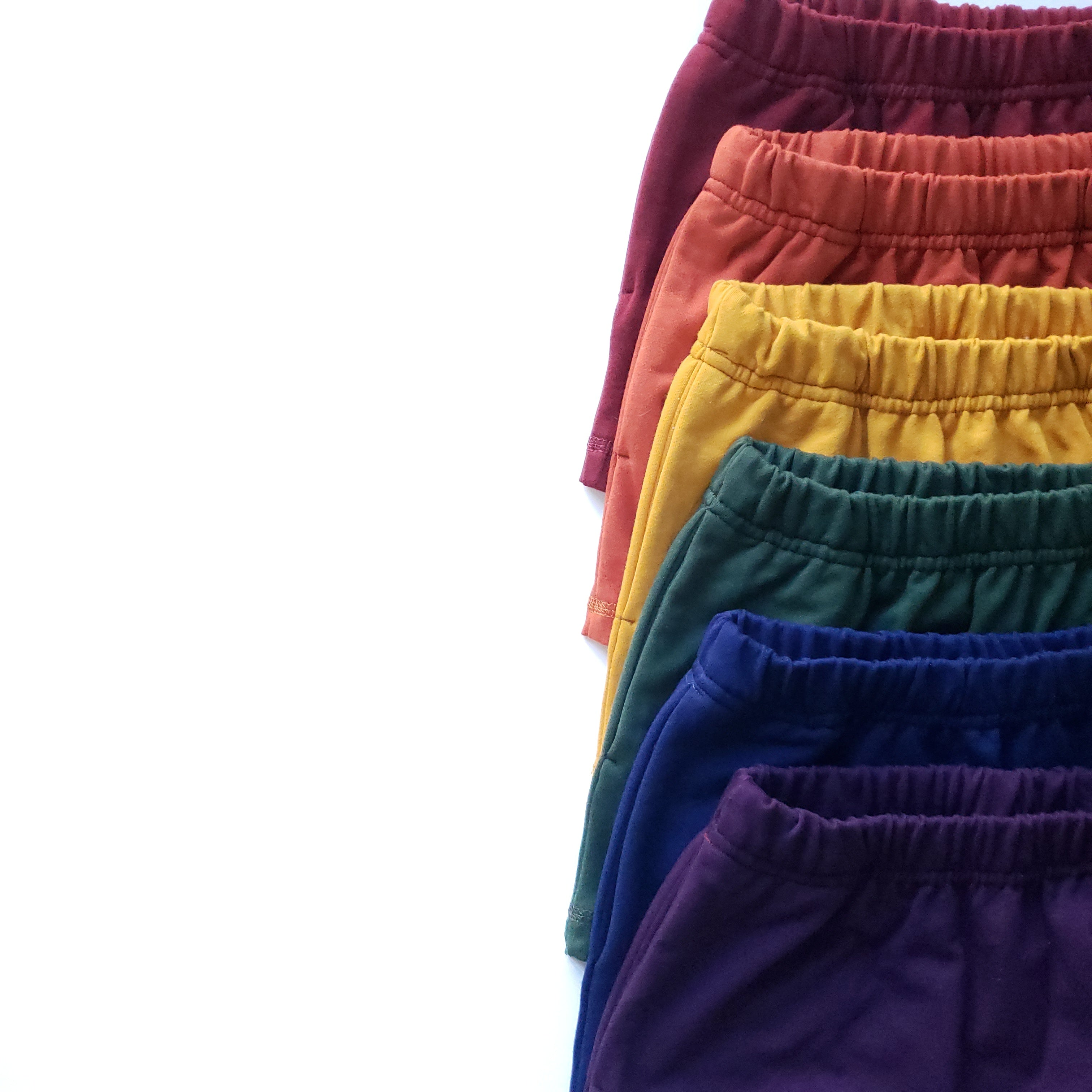 Everyday Shorts in red, orange, yellow, green, blue and purple