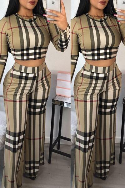 Striped Long Sleeve Croppped Top & Wide Leg Pants Set