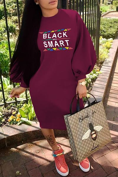 Black & Smart Print Puff Sleeve Round Neck Casual Midi Dress