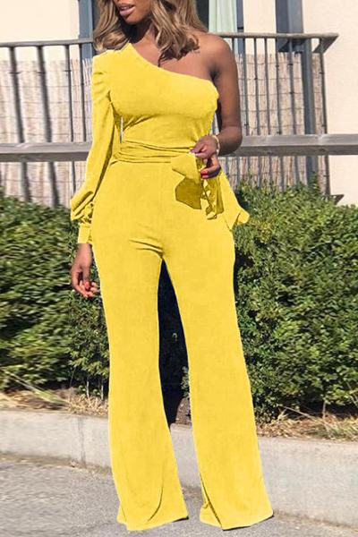 Plain One Sleeve One Shoulder Chic Belted Jumpsuit