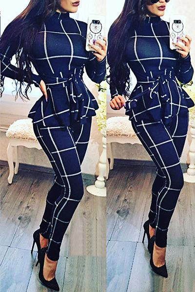 Plaid Long Sleeve High Neck Belted Regular Jumpsuit