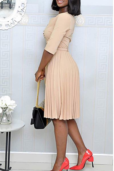 Plain Half Sleeve Crew Neck Smart Single Breasted Pleated Midi Dress