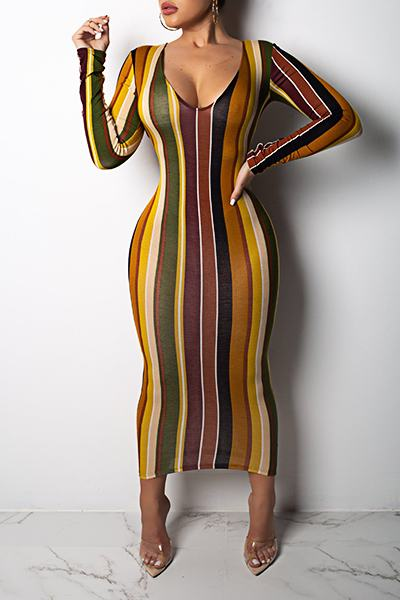 Striped Long Sleeve Scoop Neck Colorful Calf-Length Wrap Dress