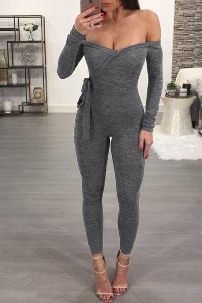 Plain Off Shoulder Long Sleeve Regular Jumpsuit