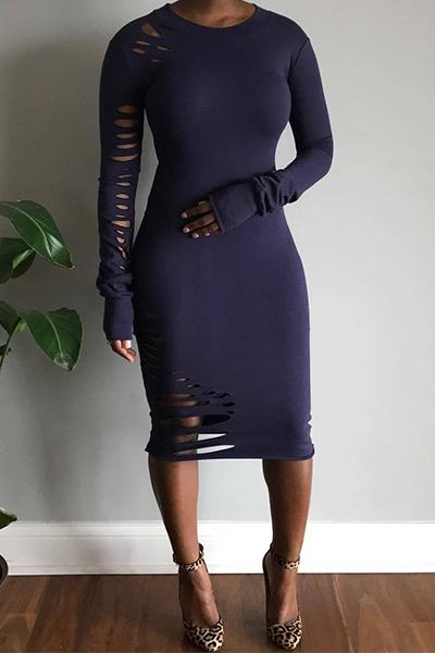 Ripped Long Sleeve Round Neck Flattering Calf-Length Dress