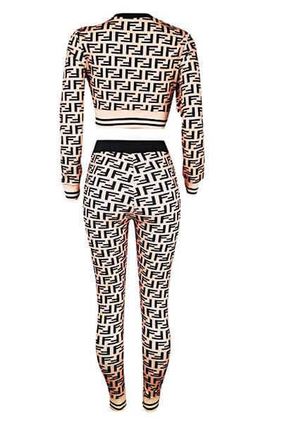 Geometric Print Cuff Sleeve Round Neck On-trend Cropped Top&Pants Set