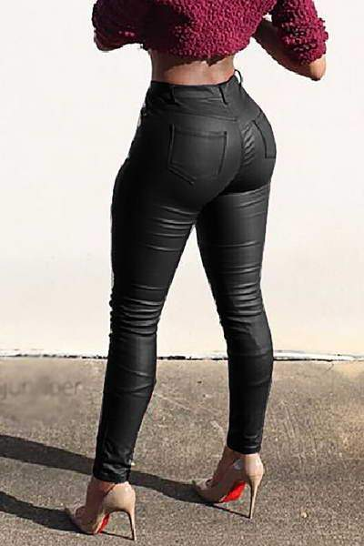 PU Leather Biker Pants