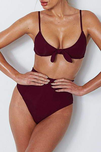 high-waist-bottoms-scoop-neck-bow-front-top-retro-solid-color-bikini