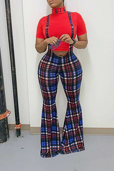 Plaid Suspenders Pants