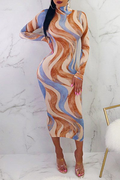 Blue & Brown Tube Dress