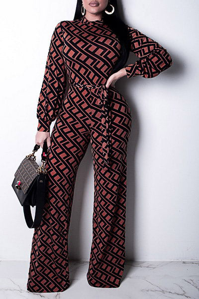 Brown Geo Jumpsuit