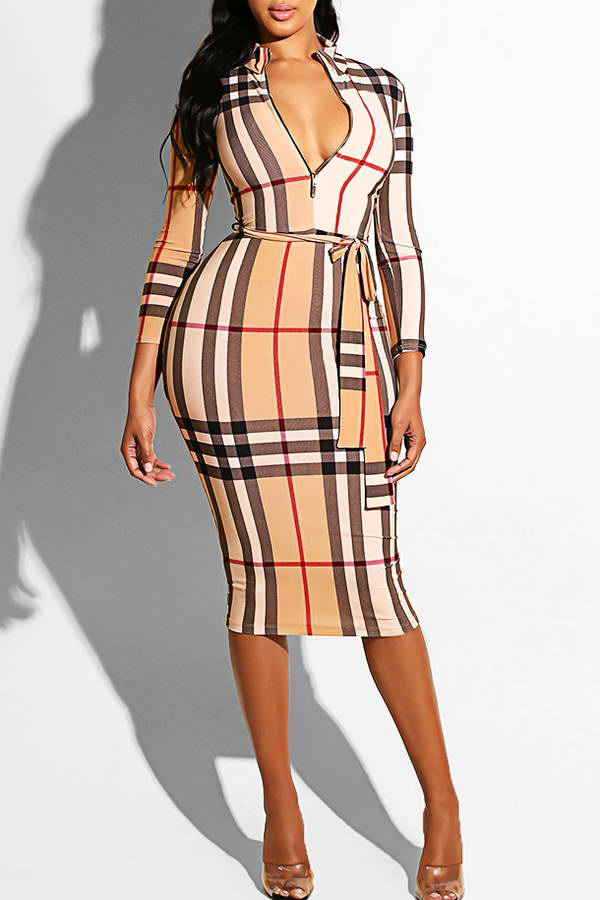 Zipper Neck Midi Dress