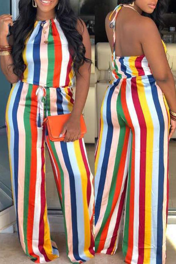 Seven-Color Striped Backlrss Jumpsuit