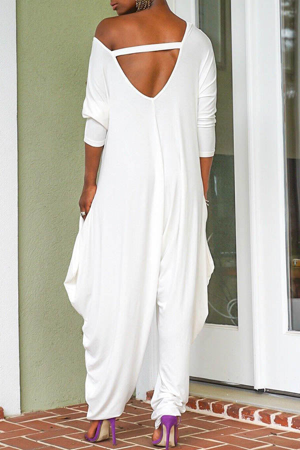 Solid Color Loose Backless Jumpsuit