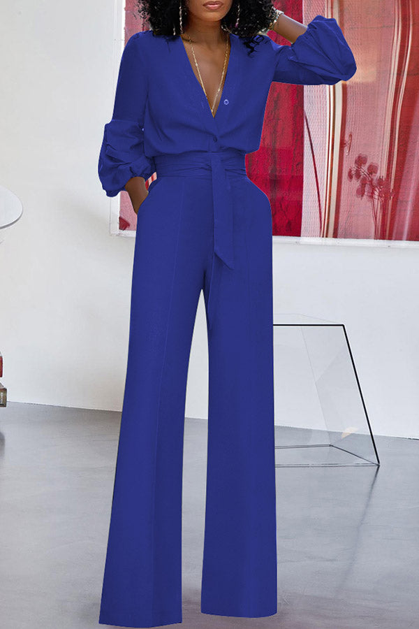 Solid Color Puff Sleeve Lace-Up Jumpsuit