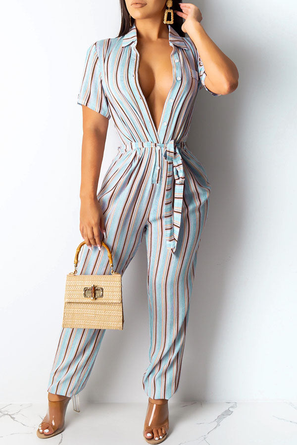 Stripe Printed Lace-Up Jumpsuit