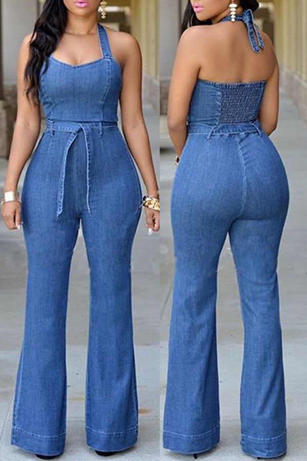 Halter Jeans Jumpsuit (With Waistband)