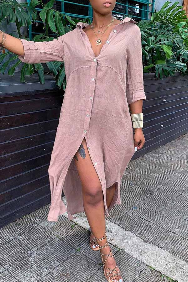 Solid Colour Loose Shirt Dress