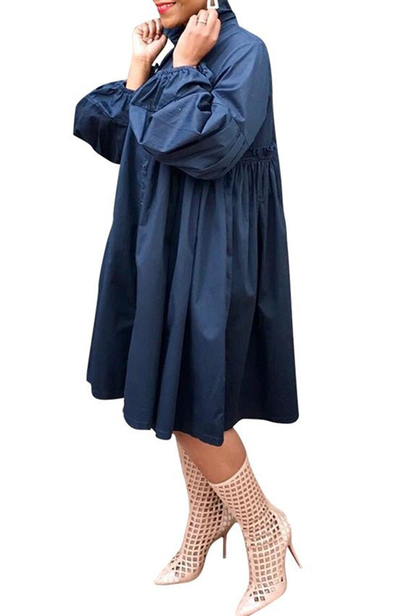 Solid Color Puff Sleeve Shirt Dress
