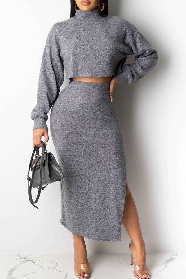 High Neck Long Sleeve Split Skirt Two Piece Set
