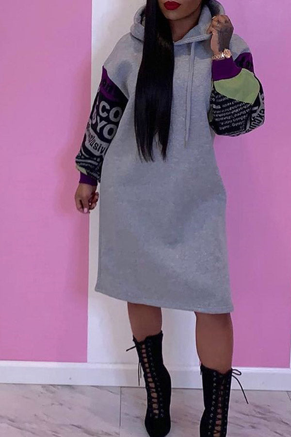 Loose Letter Print Long Sleeve Dress