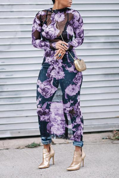 Floral Print High Neck Long Sleeve Long Dress
