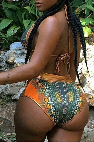 High Waist Halter Neck Print Gold Bikini Two Piece Swimsuit