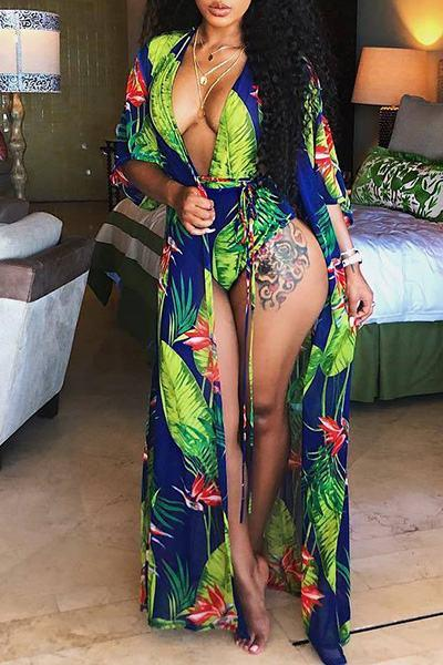 Tropical Print Beach Robe Cover Up & Plunging Halter Neck Swimsuit