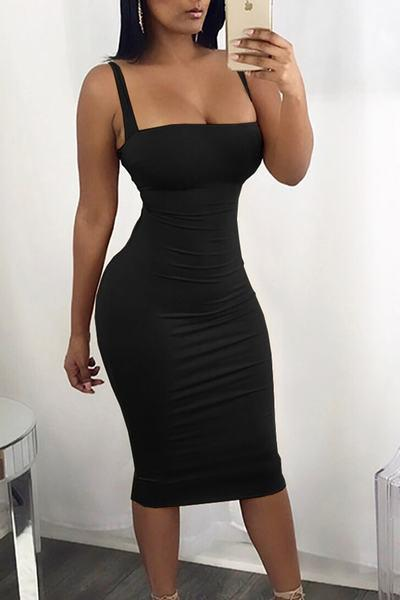 Sleeveless Spaghetti Strap Lace Up Back Bandage Bodycon Dress